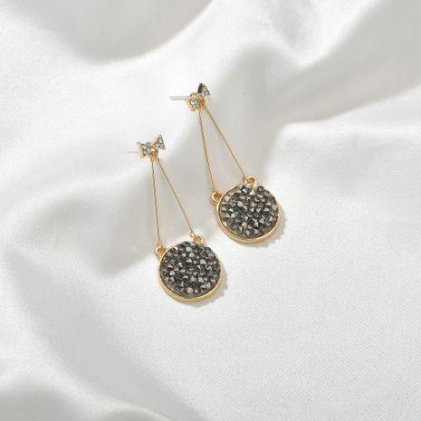 925 argent aiguille arc coréen boucles d'oreilles rondes cristal noir plein diamant longues boucles d'oreilles en gros nihaojewelry NHBQ230122's discount tags
