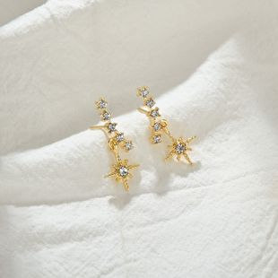925 silver pin octagonal crescent earrings Korean earrings micro-set zircon shiny earrings wholesale nihaojewelry NHBQ230127's discount tags