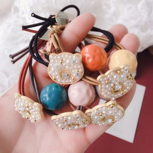 spring new bear pearl decoration acrylic round ball rubber band hair scrunchies headdress wholesale nihaojewelry NHHI230189's discount tags