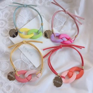 Korean color acrylic chain forming knotting color matching rubber band hair scrunchies headwear wholesale nihaojewelry NHHI230192's discount tags