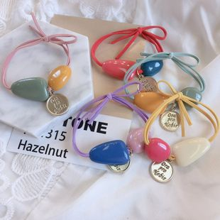 Korean new irregular color acrylic spell color beads knotted macaron color hair scrunchies hair ornament headdress wholesale nihaojewelry NHHI230195's discount tags