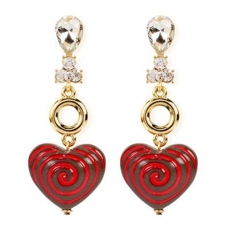 Rétro simple petites boucles d'oreilles résine amour boucles d'oreilles en forme de coeur en gros nihaojewelry NHCT230206's discount tags