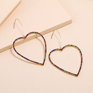 Korean diamond-set golden hollow love earrings fashion trend exquisite exaggerated peach heart earrings wholesale nihaojewelry NHKQ230232's discount tags