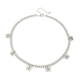 fashion jewelry punk trend choker neck chain wild silver butterfly pendant necklace wholesale nihaojewelry NHNZ230250's discount tags