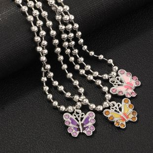 fashion jewelry colorful color butterfly necklace diamond-set earth cool girl necklace clavicle chain wholesale nihaojewelry NHNZ230251's discount tags