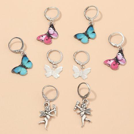 bijoux de mode rétro couleur gouttes papillon ange boucles d'oreilles ensemble en gros nihaojewelry NHNZ230255's discount tags