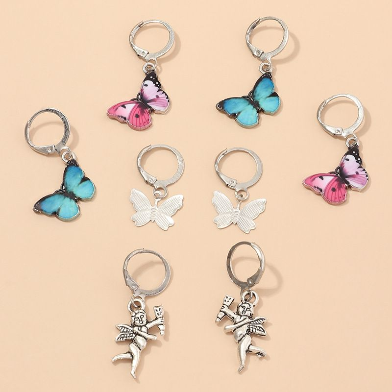 fashion jewelry retro color dripping butterfly angel earrings set wholesale nihaojewelry NHNZ230255