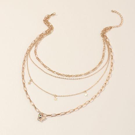 bijoux de mode créative multicouche féminité pentagramme papillon pendentif collier en gros nihaojewelry NHNZ230259's discount tags