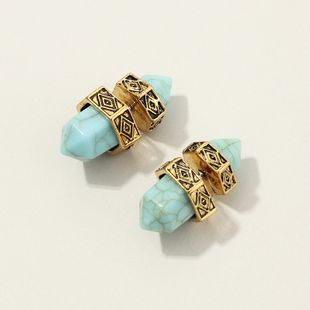fashion jewelry popular retro ethnic style six prism turquoise earrings wholesale nihaojewelry NHNZ230261's discount tags