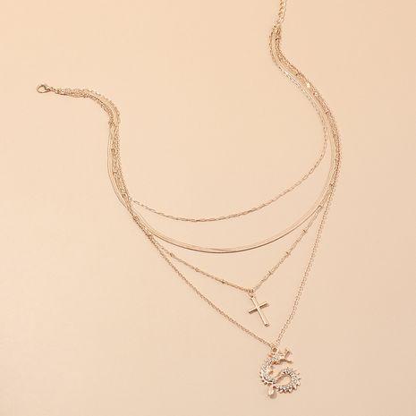 bijoux de mode tendance cool girl croix pendentif multicouche dragon élément collier en gros nihaojewelry NHNZ230262's discount tags