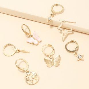 fashion jewelry retro multi-element earrings set butterfly world map earrings wholesale nihaojewelry NHNZ230264's discount tags