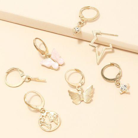bijoux de mode rétro multi-éléments boucles d'oreilles ensemble papillon carte du monde boucles d'oreilles en gros nihaojewelry NHNZ230264's discount tags