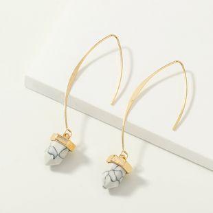 fashion jewelry wild V-shaped long ear hook earrings metal inlaid turquoise earrings wholesale nihaojewelry NHNZ230265's discount tags