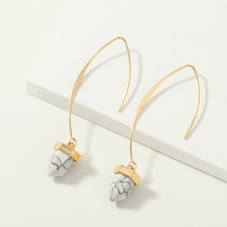 bijoux de mode sauvage en forme de V longue oreille crochet boucles d'oreilles en métal incrusté turquoise boucles d'oreilles en gros nihaojewelry NHNZ230265's discount tags