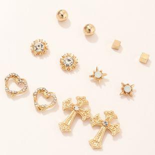 fashion jewelry simple earrings set wild geometric love cross earrings wholesale nihaojewelry NHNZ230268's discount tags