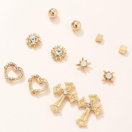 bijoux de mode simples boucles d'oreilles ensemble sauvage géométrique amour croix boucles d'oreilles en gros nihaojewelry NHNZ230268's discount tags