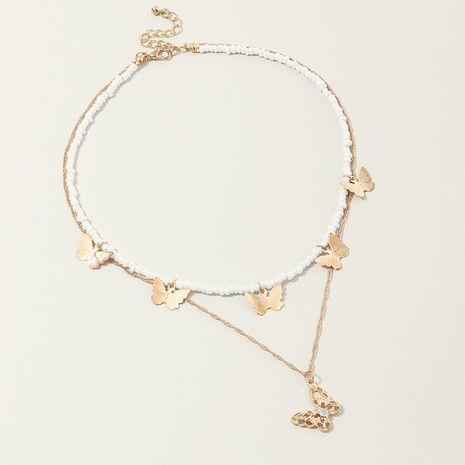 bijoux de mode simple super fée ras du cou papillon collier double collier de perles de riz en gros nihaojewelry NHNZ230270's discount tags