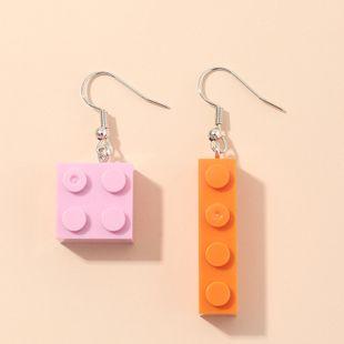 fashion jewelry girl color fun ear clip Harajuku retro building blocks Lego earrings wholesale nihaojewelry NHNZ230271's discount tags