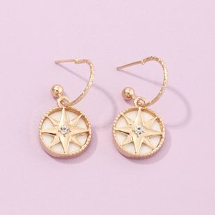 fashion jewelry simple geometric round earrings compass six-pointed star earrings wholesale nihaojewelry NHNZ230274's discount tags