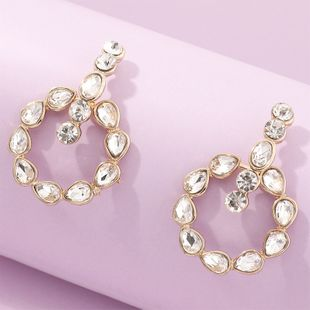 fashion jewelry round alloy drop-shaped rhinestone diamond earrings wholesale nihaojewelry NHNZ230278's discount tags