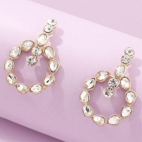 bijoux de mode en alliage rond en forme de goutte boucles d'oreilles diamant strass en gros nihaojewelry NHNZ230278's discount tags