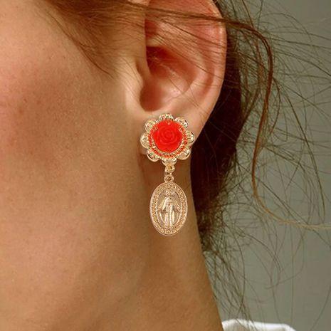 palace style retro earrings geometric alloy portrait pendant resin flower earrings wholesale nihaojewelry NHMD230281's discount tags