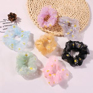 girl hair scrunchies new fresh candy color small daisy flower hair accessories NHMD230285's discount tags