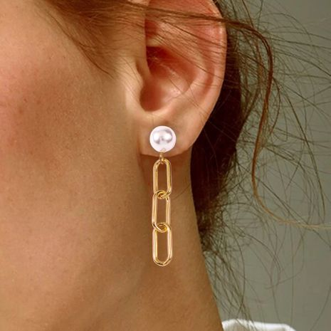 new fashion street beat punk style metal chain ring buckle pearl earrings wholesale nihaojewelry NHMD230286's discount tags