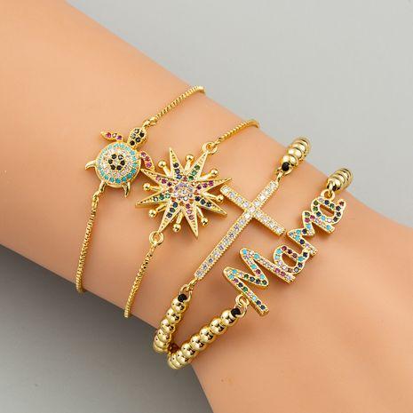 fashion cross bracelet micro-set zircon bracelet tortoise mama bracelet set NHLN230289's discount tags