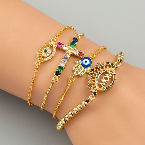 moda cruz ojos pulsera ajustable arco iris pulsera mamá cobre cuentas pulsera al por mayor NHLN230290's discount tags