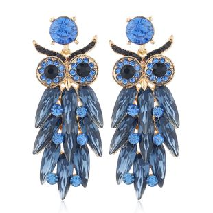 exaggerated glass rhinestone owl long earrings retro exaggerated earrings animal earrings NHLN230291's discount tags