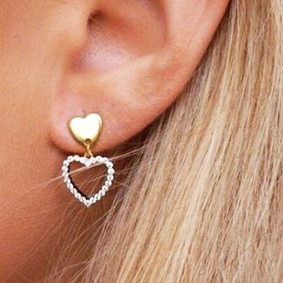 exaggerated earrings new fashion gold-plated love rhinestone earrings ladies earrings  NHOT222305's discount tags