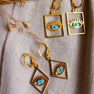 fashion earrings new geometric devil's eye earrings celebrity street shooting punk style earrings wholesale nihaojewelry NHOT222309's discount tags