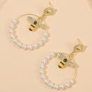 geometric handmade string pearl bee earrings insect exaggerated earrings jewelry wholesale nihaojewelry NHLA222311