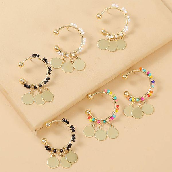C-shaped tassel rice bead earrings handmade beaded personality earring jewelry wholesale nihaojewelry NHLA222313