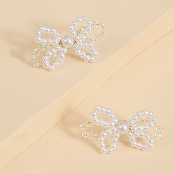 fashion pearl woven butterfly earrings Korean earrings wholesale nihaojewelry NHLA222315