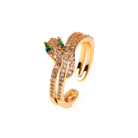 accessoires chauds micro-ensemble zircon ouverture majeur doigt anneau créatif serpent anneau en gros nihaojewelry NHPY222318's discount tags