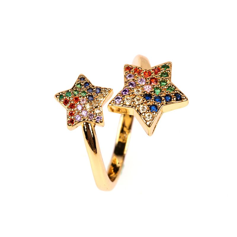 new accessories fashion personality ring micro-set color stars opening index finger ring wholesale nihaojewelry NHPY222320