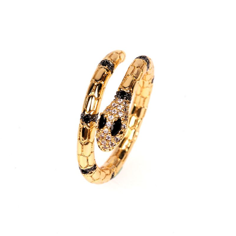 New snake-shaped diamond ring open ring personality wild female net red index finger ring wholesale nihaojewelry NHPY222327