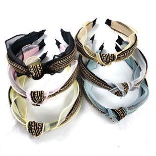 Cadena de hilo de raíz de gama alta de moda coreana diadema anudada hilado de malla de borde ancho simple horquilla de alta gama cinta de encaje diadema al por mayor nihaojewelry NHUX222339's discount tags