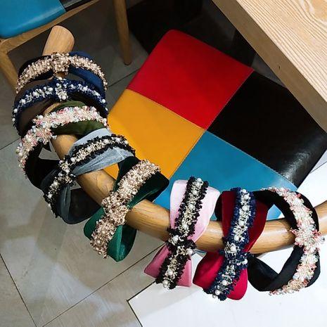 korean fashion new section gold velvet headband wholesale nihaojewelry NHUX222341's discount tags