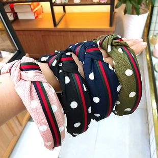 South Korea's new wide-angle wave point knotted headband striped webbing twisted adult hair accessories wholesale nihaojewelry NHUX222346's discount tags