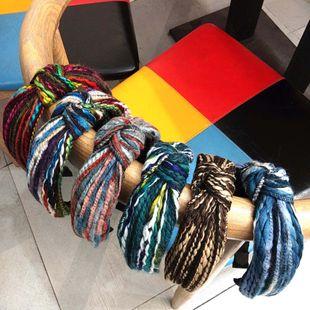 Moda coreana otoño e invierno nuevo color mixto lana anudada diadema banda ancha color tira pelo accesorios venta al por mayor nihaojewelry NHUX222349's discount tags