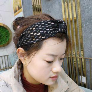 Korean fashion new high-end fabric knotted headband fashion simple pressure headband wide side gold thread  headdress wholesale nihaojewelry NHUX222353's discount tags
