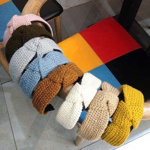 Moda coreana nueva diadema de lana tejida anudada color sólido de ala ancha accesorios simples para el cabello moda diadema salvaje damas al por mayor nihaojewelry NHUX222358's discount tags