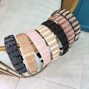 Moda coreana de ala ancha tejida a mano banda de pelo de cristal de alta gama de lujo de moda horquilla boutique presión diadema accesorios para el cabello femenino al por mayor nihaojewelry NHUX222363's discount tags