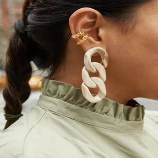 multi-layer hanging resin earrings multicolor cold wind creative fashion earrings wholesale nihaojewelry NHJQ222369's discount tags