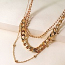 new fashion alloy copper necklace pendant personality threepiece clavicle chain hot sale wholesale nihaojewelry NHJJ222376