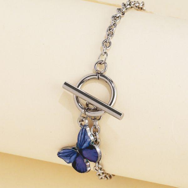 Korean blue butterfly word buckle bracelet super fire couple girlfriends bracelet wholesale nihaojewelry NHJJ222388