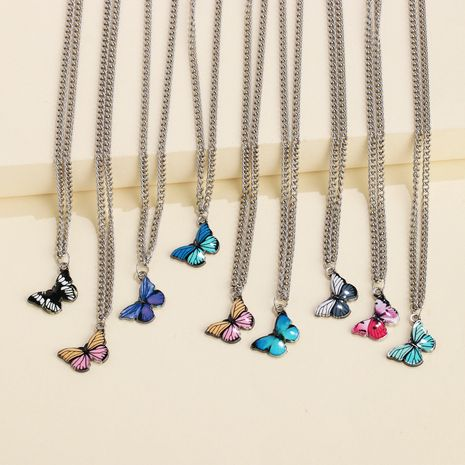 Butterfly necklace tide personality simple hip-hop pendant girlfriends couple clavicle chain wholesale nihaojewelry NHJJ222390's discount tags